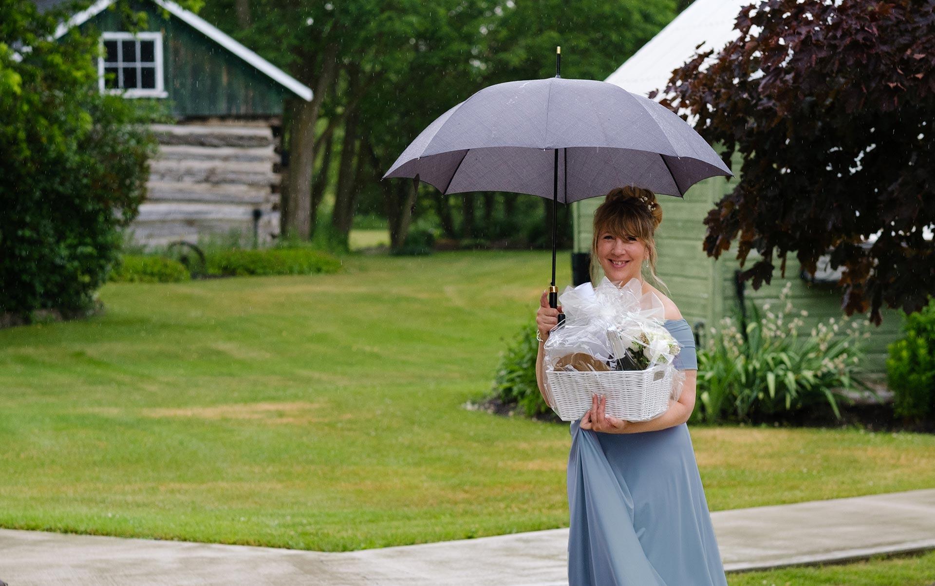 Bridesmaid with Umbrella