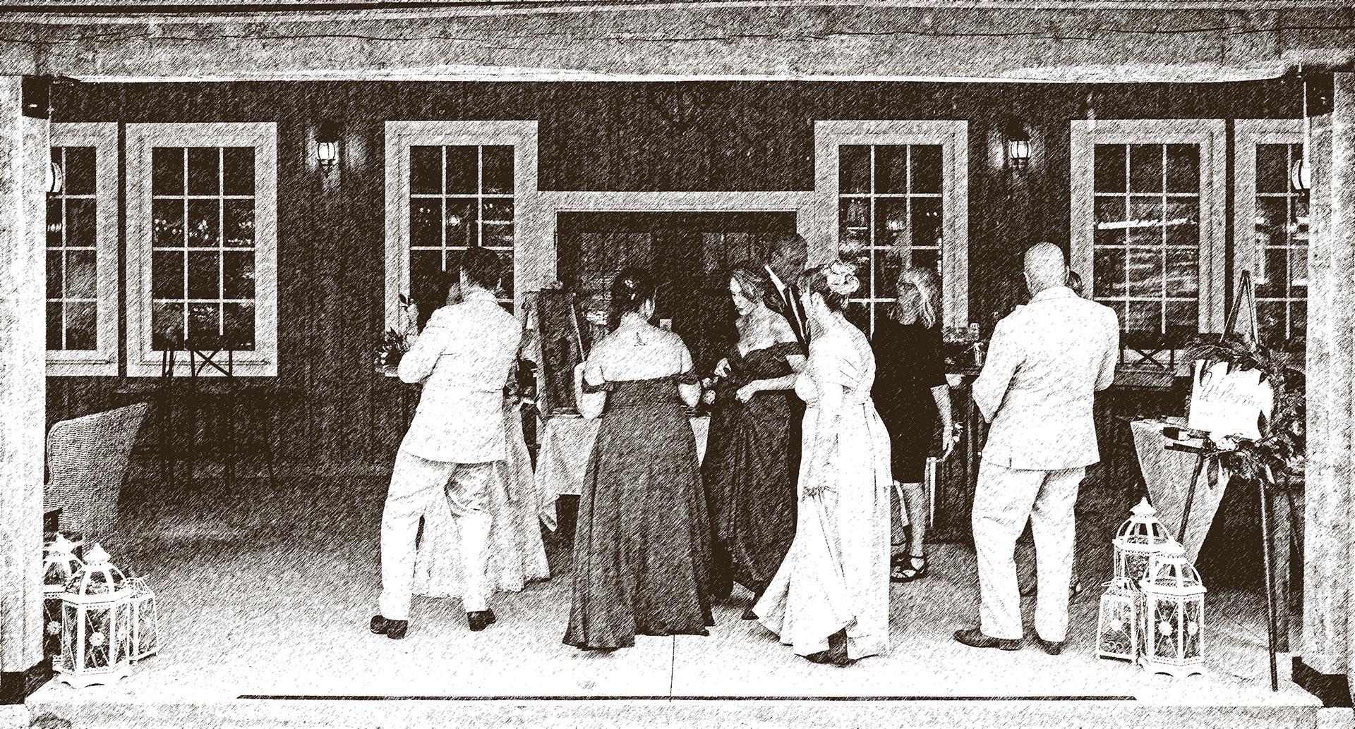 Group Dancing - Pen Sketch